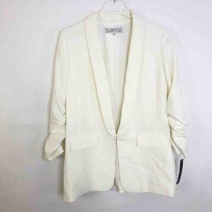 Tahari Ivory Jacket Ruched Sleeve Stretch 6